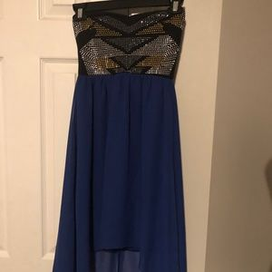 Blue and Black high low dress